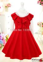 Wholesale kids girl Red Princess Cotton Dress Khaki High Quality Sleeveless Baby Tutu Dress Beautiful Free Shipping DA603