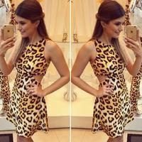 women sexy v neck Leopard backless sleeveless pencil cocktail dress bodycon mini dress clubwear club dresses short prom dress