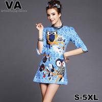 Women plus size Cute Print Vintage Blue O-Neck Animal Wol Office Work dress 4XL 5XL vestidos femininos verao P