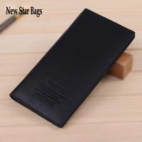 NEW 2015 fashion Mens long wallet real pu Leather Black Wallets Purse long Wallet.S12E