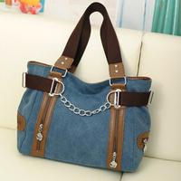 Double Zipper Chain Fashion Women Bags Canvas  bag Shopping Handbag Casual Shoulder Bag