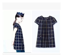 2015 new spring &summer European &American style girls navy blue plaid short-sleeve dress baby girl college wind dresses 2-10A
