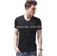 2015 New Fashion Men's Cotton V-neck Basic Plain TEE T-Shirt Short Sleeve Top Blouse  DY0212