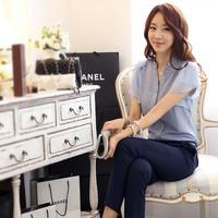 free shipping Korean version V-neck beaded short sleeve shirts ladies short sleeve chiffon shirt 4colors size s-xxl