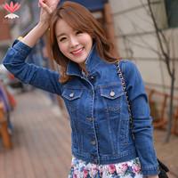 Jaqueta Casacos Feminina Ladies Short Jeans Jackets 2015 Spring Autumn Long Sleeve Slim Women Coat Blue Denim Jacket J19111S