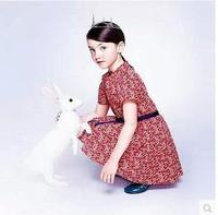 2015 new spring &summer French style girl floral bow boutique dress kids girls designer short-sleeve tutu red dresses