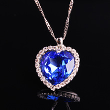 High Quality Romantic Titanic Ocean Heart Pendant Necklace Copper Chain Fashion Jewelry Blue Crystal Necklaces Women Gift