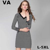2015 new spring brand high quality Print Slim Black Mini V-Neck Plaid Elegant work wear Dresses Vestidos Plus Size 4XL 5XL P