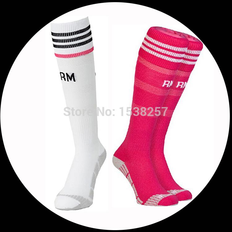 2014 2015 Thai quality original club socks Madrid home White away pink soccer socks madrid football socks(China (Mainland))
