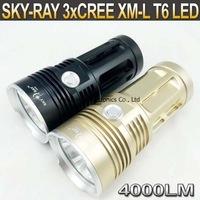 10pcs,SKY RAY King Led Flashlight 3 Mode 4000 Lms 3xCREE XM-L T6 LED Torch waterproof High Power Torch by 4x18650