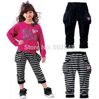2015 Spring Children Pants Girls 2Color Leggings Kids Clothes Free Shipping 5 PCS