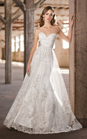 Fashionable Romantic New Hot Sell White/ivory Sweetheart Appliques Silky Grace Up Court Train A-line Wedding Dress 2014_bridalk