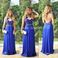 Vestido De Renda Formal Sexy Top Cap Sleeves Open Back With Prom Gowns 2014 Vestido De Festa Formales Royal Evening Dresses Y912