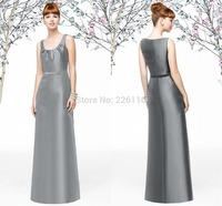 2014 Real 2015 Elegant Evening Dresses A-line Floor-length Off The Shoulder Sleeveless Sweep Train Sashes O-neck Taffeta_bridalk