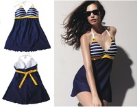 Women's Padded Swimwear Blue Stripe Sexy Swimsuit Dress Push up Bathing Suit One Piece Bikini by DHL 100pcs/lot