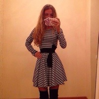 2015 The new pre-sale explosion Houndstooth long-sleeved without belt mini sexy casual dress winter dresses QL92