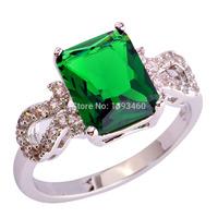 Fashion Bright Green Emerald Quartz 925 Silver Ring Size  7 8 9 10 11 Sparkling Women Jewelry Gift Free Shipping Wholesale
