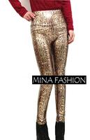 European And American Plus Size Faux Leather Gold Serpentine Leggings Fashion Printed Sexy High Waist Slim Cheap Legging wf-3021