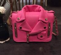 2015 famous women handbags chain bag pink biker jacket bag Motorcycle bag shoulder messenger bags