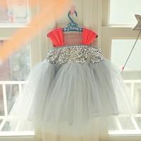 2015 summer new arrival girls fashion paillette tutu dresses kids party wedding dress pink gray 953