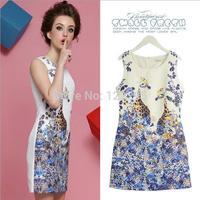 Summer dress / Europe popular women / girls jacquard fabric printing Slim round neck dress fawn