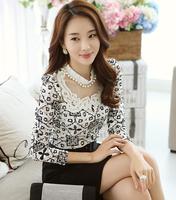slim women's lace shirts full sleeves Cute Female Blouses Blusas Femininas Jaqueta Elegance OL working shirts Casual Tops T-051