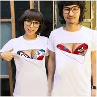 3D creative design bra burst milk Printed T shirt women and men cotton short-sleeved