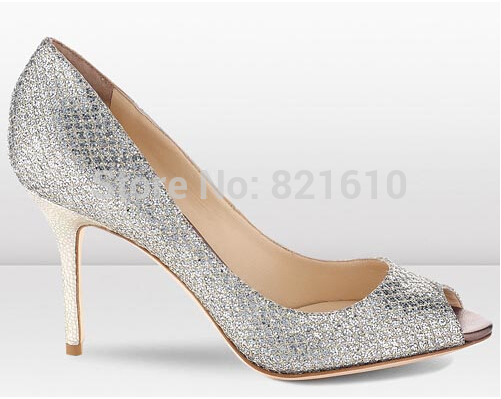 Top Brand Wedding Shoes Woman Open Toe Women Pumps Sequin High Heels Zapatos De Tacon Elegant Silver Office Ladies Shoes 2015(China (Mainland))