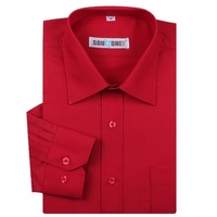 Male pure red long-sleeve shirt autumn pure color clothes ceremonized men's clothing red shirt