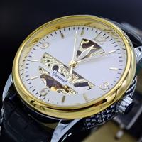 Top Brand Luxury Men Automatic Mechanical Watch Gold Skeleton Wristwatch PU Leather Strap Self Wind Clock For Men