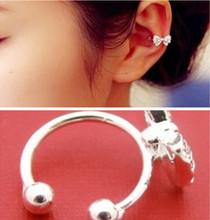 1Pcs Brincos New Fashion Punk Ear Cuff Rhinestone Butterfly Silver Clip Earrings For Women Pendientes Jewelry