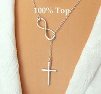 Min Order 9$! Best Friends Infinity Chain Necklace Clavicle Necklace Chain Cross Pendant