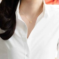 Chic Gold Single Layer Star Pendant Necklace Thin Chain Simple Punk Boho Emo Celebs Style