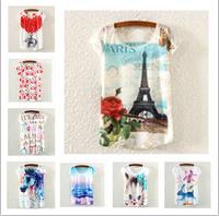 HOT sale!2015 new Rose tower/South Korea's rabbit printed Women 3d t shirts O-Neck top tees casual women's t-shirt