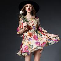 women summer dress 2015 fashion silk flower print pulloves ruffles one-piece casual dress
