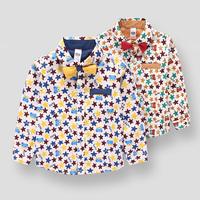 Free Shipping 2015 Spring Kids Brand Fashion Cartoon Gentleman Tie Children Shirts Full Sleeved Shirts For Boy's Shirts