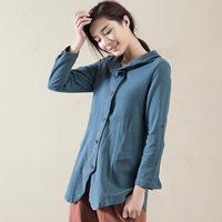 Spring 2015 new arrival folk style cotton women's shirt flax long sleeved shirt Chinese women's Retro shirt free shipping