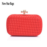 2015 Factory new listing women candy color Wove evening bag Fashion shoulder day Clutches With Chain free shipping.S53E