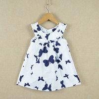 Retail 1 pcs  2015 summer latest fashion design girls Butterfly printing white navy print princess leisure dresses WW01140005J