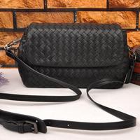 Fashion handmade knitted b sheepskin genuine leather women's bag one shoulder cross-body women's handbag