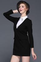 2015 New European ladies, Big brand quality Neckline beading,Fake two-piece, pocket  Slim Dress,Lady/Women dresses FREE SHIPPING