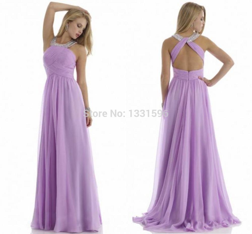Simple Cheap Lilac Dresses To Party Halter Open Back Off The Shoulder A-line Vestido De Festa Curto Pleat Long Evening Dress 23(China (Mainland))