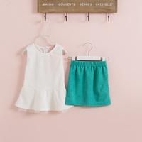 Retail new 2015 summer girls white green ruffles sleeveless t-shirt + skirt clothing set kids clothes sets outfits WW01190011J