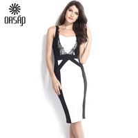 OASAP Women  Chic Lace Trim Adornment Patchwork Midi Dress Ladies Sexy Dresses Vestido Casual Free Shipping