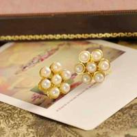 fashion Vintage pearl flower ear stud earrings