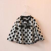 New 2015 spring elegant children clothing girls child bow decoration big polka dot cardigan kids baby fashion coat high quality