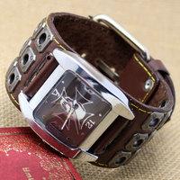 2015 Fashion Steampunk Punk Watch Square Retro Leather Bracelet Skull Hand Hours Reloj De Homber Q2503-4