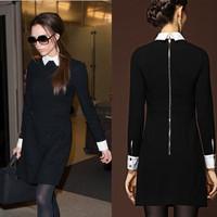 2014 Fashion Star Style Victoria Beckham Dress Slim Elegant Turn-down Collar Long Sleeve Black Dresses for Women