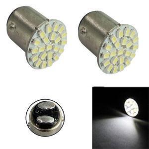 New Brand High Quality 2 Pcs1157 22 SMD LED Bulbs White DC 12V 19mm Diameter 170-180LM Car Light Source(China (Mainland))