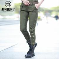 Women's outdoor slim casual long trousers 100% cotton hiking pants pencil leg pants slim trousers